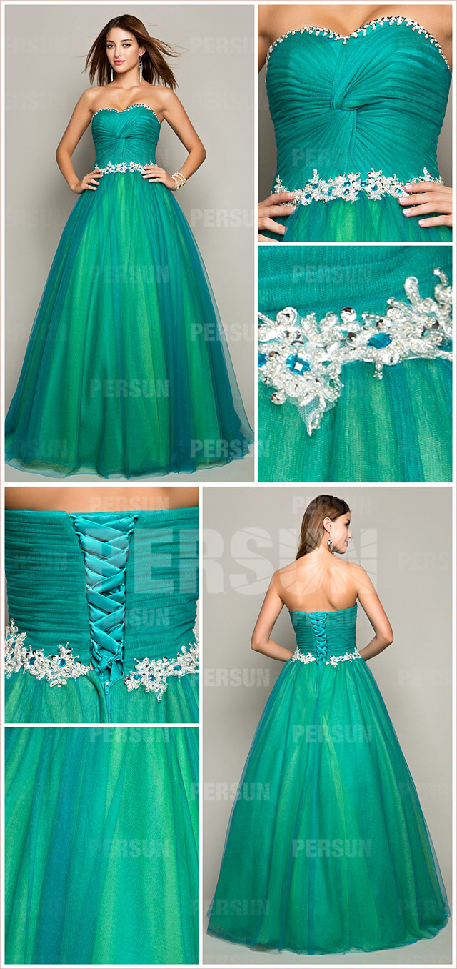 green pleats beading sweetheart tulle ball gown evening dress details
