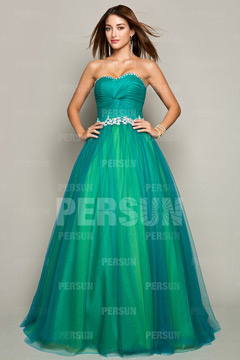 Worcester' Green Pleats Ball Gown Prom Dress