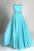 Pleated Beading Sweetheart Ball Gown Green Tulle Prom Dress