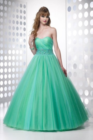Workington Tulle Sweetheart Beading Waist Pleats Ball Gown Prom Gown