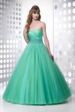 Workington Green Pleats Ball Gown Prom Gown