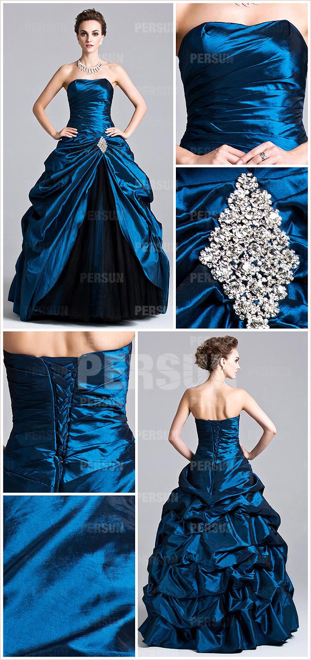 blue pleats strapless taffeta ball gown evening dress