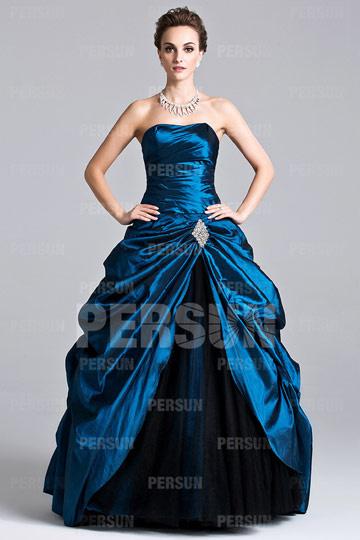 Dressesmall Unique Pick Up Skirt Pleats Strapless Taffeta Ball Gown Evening Dress