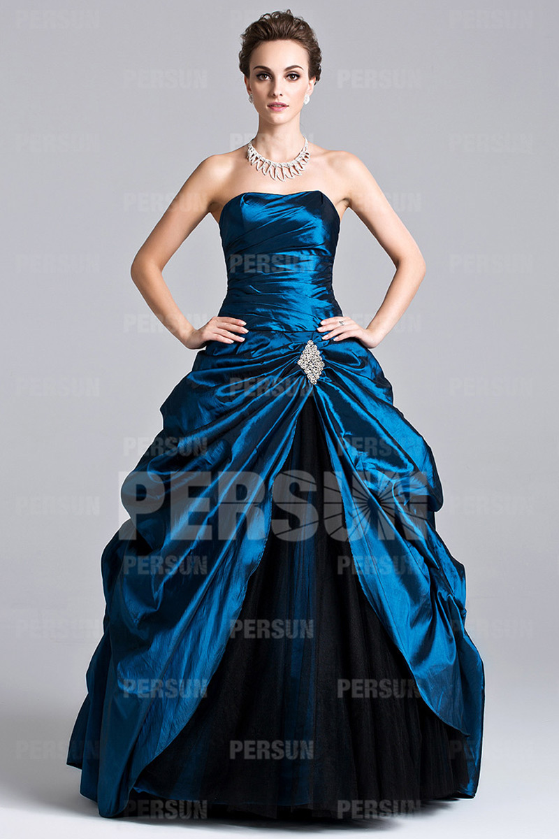Unique Pick Up Skirt Pleats Strapless Taffeta Ball Gown ...