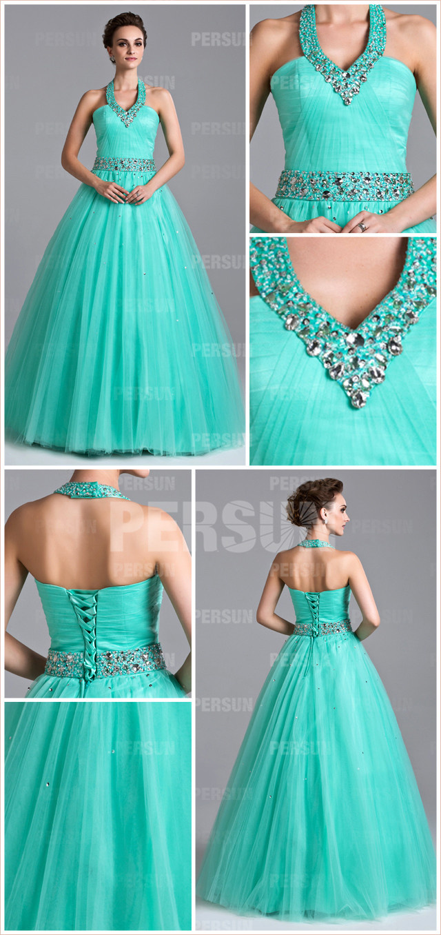 green long beading halter tulle ball gown evening dress