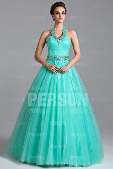 Dressesmall Beading Halter Tulle Ball Gown Evening Dress