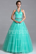 Beading Halter Tulle Ball Gown Evening Dress