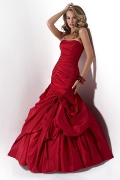 Strapless Ruching Pick Up Skirt Lace up Red Trumpet Wedding Dress