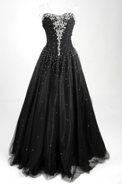 Tulle Sweetheart A line Sequins Lace Up Black Prom Dress