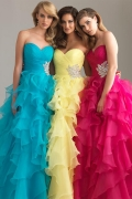 Ruched Ruffle Sweetheart Ball Gown Organza Prom Dress