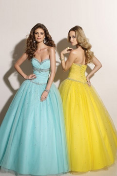 Tulle Lace Up Sweetheart Sequins Ball Gown Yellow Prom Dress