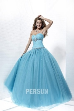 Tulle Sweetheart A line Lace Up Ball Gown Blue Prom Dress