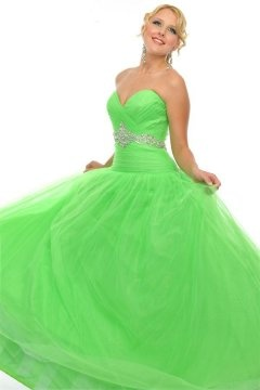 Tulle Sweetheart Strapless Ball Gown Green Prom Dress Cheap
