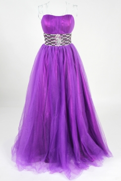 Tulle Sweetheart Lace Up Ball Gown Purple Prom Dress