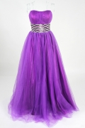 Sequined Sweetheart Purple Ball Gown Tulle Prom Dress