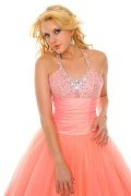 Sequined Halter Ball Gown Tulle Prom Dress