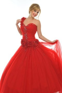 One Shoulder Lace Up Tulle Flower Ball Gown Red Prom Dress