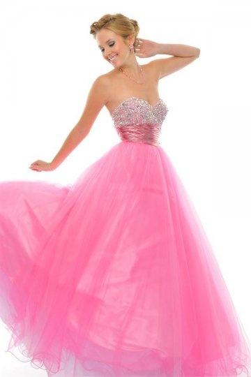 Beverley Tulle Sweetheart Beading Fuchsia Ball Gown Prom Dress