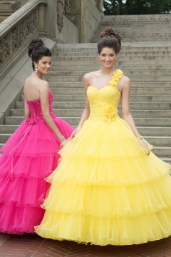 Organza Sweetheart Ruffle Tiers Lace Up Ball Gown Yellow Prom Dress