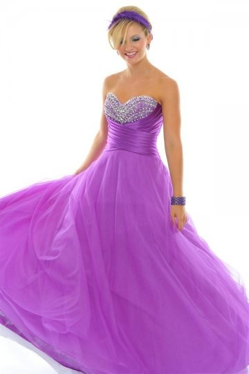 Sweetheart Beading Lace Up Ball Gown Tulle Prom Dress