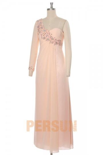 Vestidos de Baile coluna um ombro em Chiffon de seda rosa decorado de strass