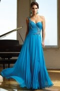 Beading One Shoulder Blue A line Chiffon Prom Dress