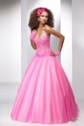 Tulle Sweetheart Beading Pleat Fuchsia Ball Gown Prom Dress