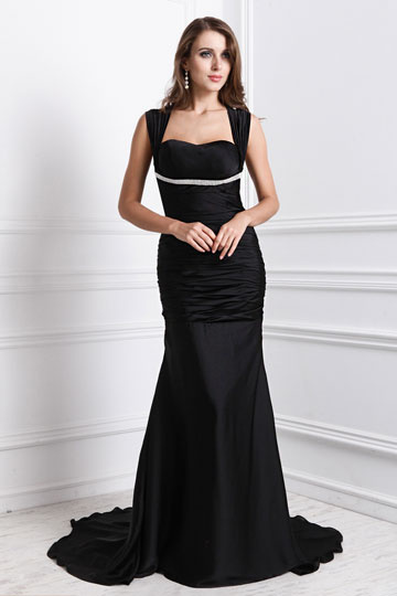 Dressesmall Sexy Ruching Square Neck Satin Column Evening Dress