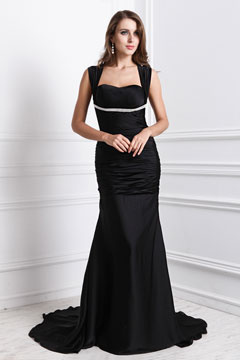 Sexy Square Neck Pleats Floor Length Black Cheap Prom Dress