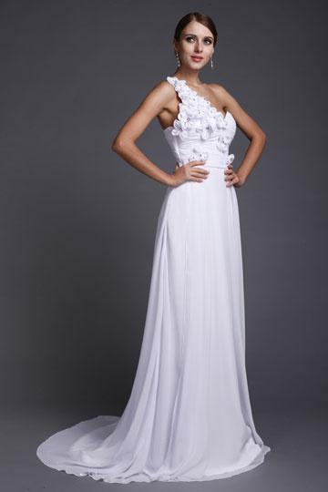 Dressesmall Applique Ruching One Shoulder Chiffon Evening Dress