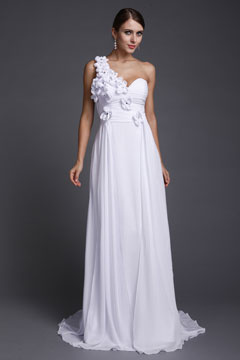 One Shoulder Court Train Flower Chiffon White Long Prom Dress