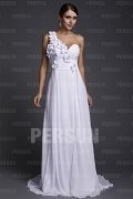 Applique Ruching One Shoulder Chiffon Evening Dress