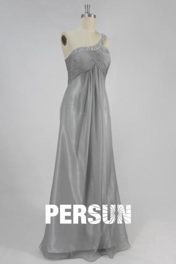 Dressesmall Sexy Ruching Pleats One Shoulder Chiffon A line Formal Dress