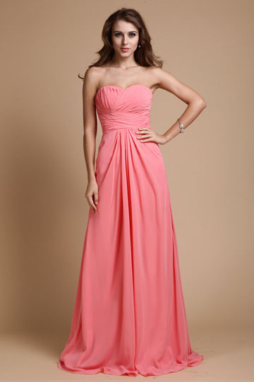 Dressesmall Elegant Ruching Sweetheart Chiffon Long Formal Evening Dress