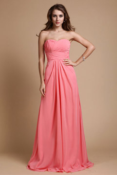 Elegant Sweetheart Strapless Chiffon Floor Length Pink Graduation Dress