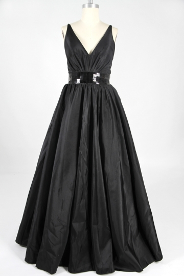 Dressesmall Belt V neck Taffeta Black A line Evening Dress