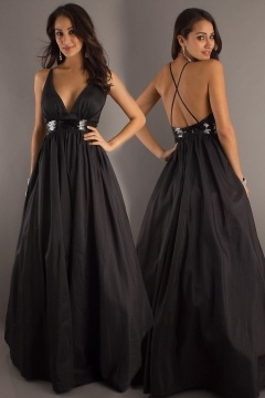 Bradford on Avon Taffeta V neck Belt A line Black Prom Dress