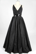 Belt V neck Taffeta Black A line Evening Dress