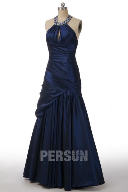 Elegantes Etui-Linie Perlen verziertes gefaltetes Taft Ballkleid Persun