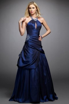 Elegant Taffeta Halter Keyhole Backless Long Blue Graduation Dress