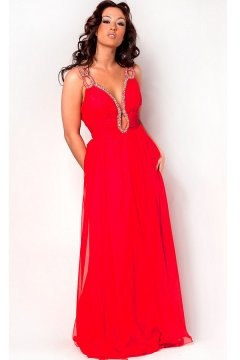 Beading Ruching Keyhole Straps Chiffon A line Evening Dress