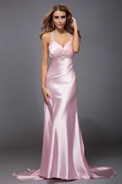 Sexy Halter Draping Satin Long Pink Prom Dress