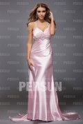 Sexy Beading Ruching Straps Satin A line Evening Dress