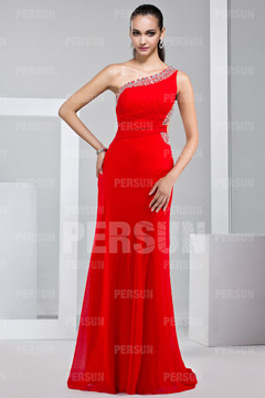 One Shoulder Cut Out Floor Length Chiffon Red Prom Dress UK