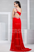 One Shoulder Beading Ruching Chiffon Prom / Evening Dress