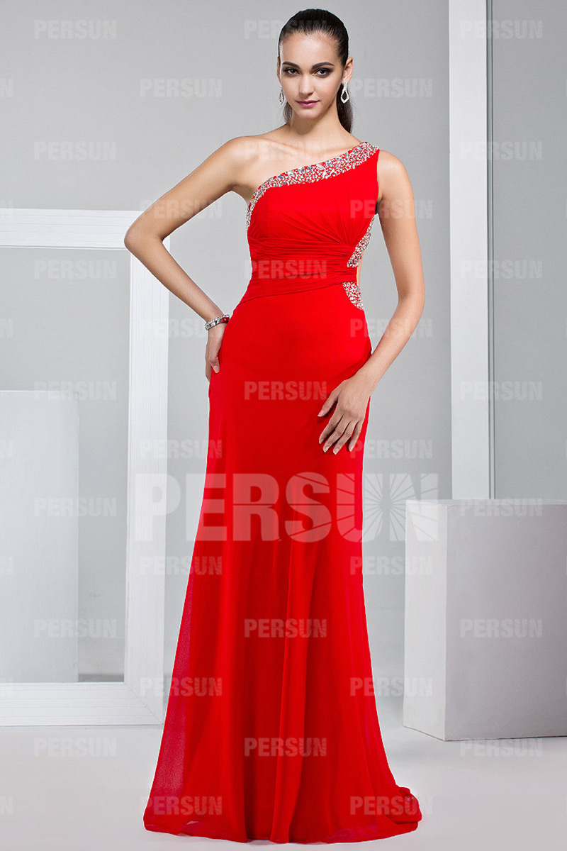 One shoulder Evening gown in Red Chiffon