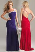 Sexy Beading Pleats Ruching One Shoulder Chiffon Trumpet Evening Dress