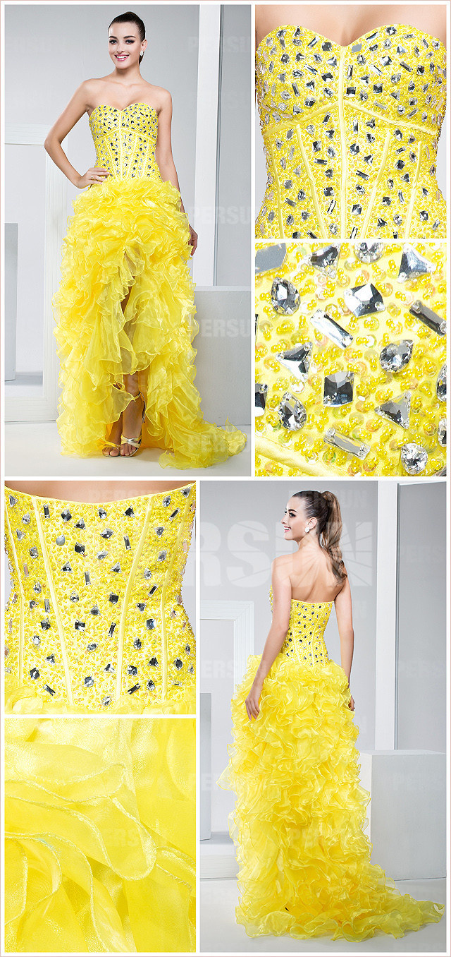 Yellow Ruffles Beading Sweetheart Organza High Low Cocktail Dress