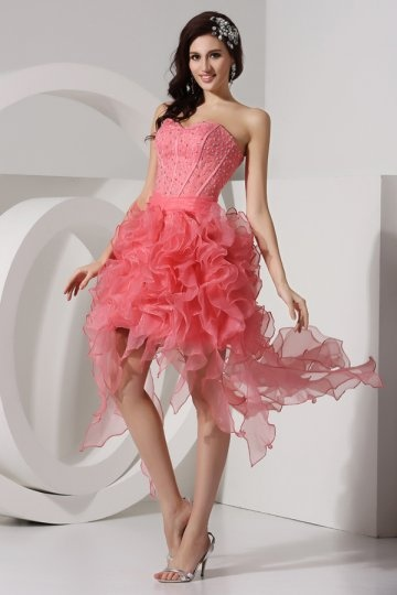 Dressesmall Pleated Beading Sweetheart Organza A line High Low Cocktail Dress
