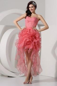 Sweetheart Chiffon High Low Sheath Bodice Pink Prom Dress